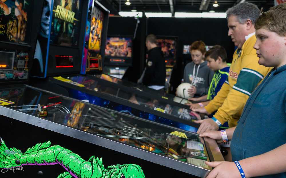 Pinball arcade at Big Boys Toys expo