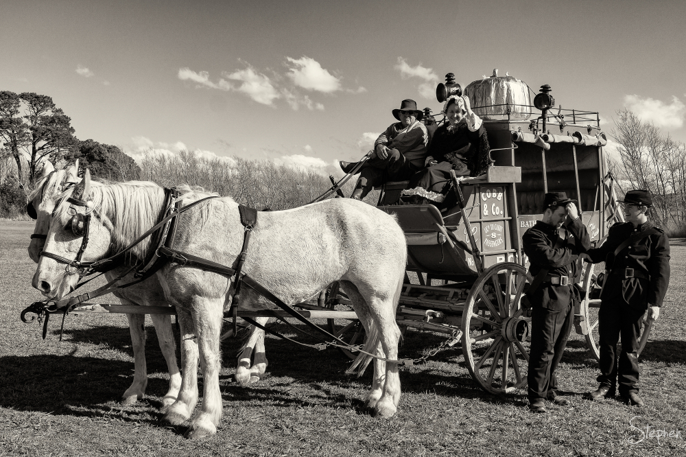 Gold Trails Reenactments stage coach at Collector
