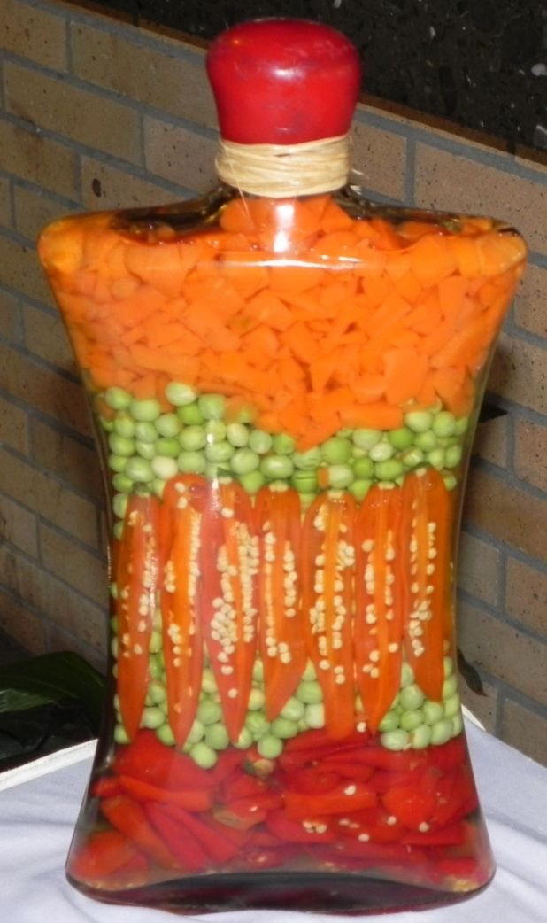 Vegetables in bottle