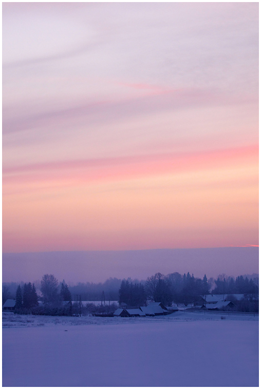 Päikseloojang talvisel Võrumaal