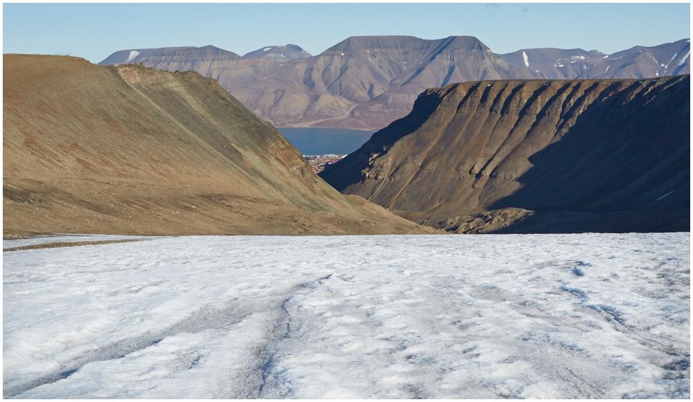 View to Longyearbyen from larsbreen glacier