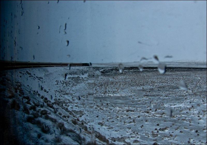 head of train , in the rain