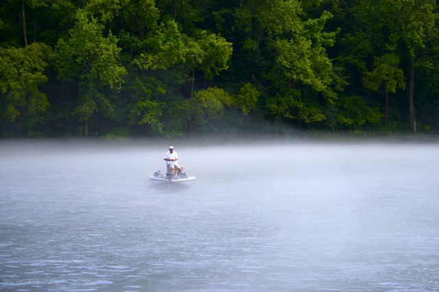 fishing in the mist of Lake Taneycomo