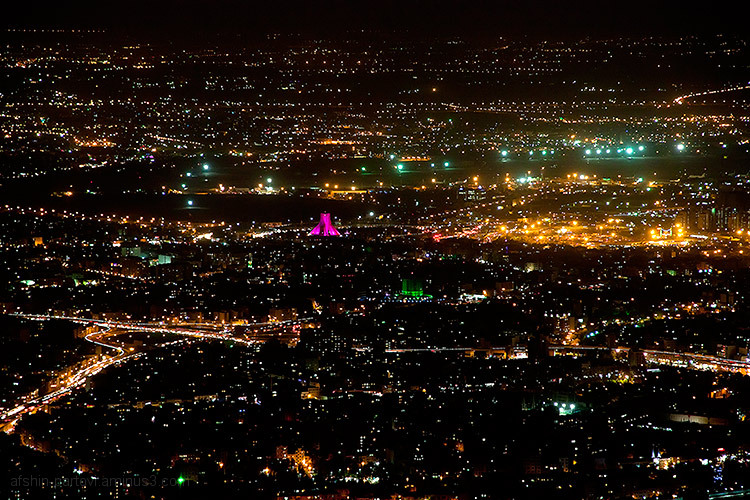 Azadi Square, Tehran night, Milad tower