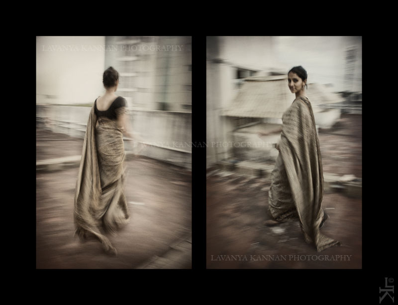 Portrait, saree, woman