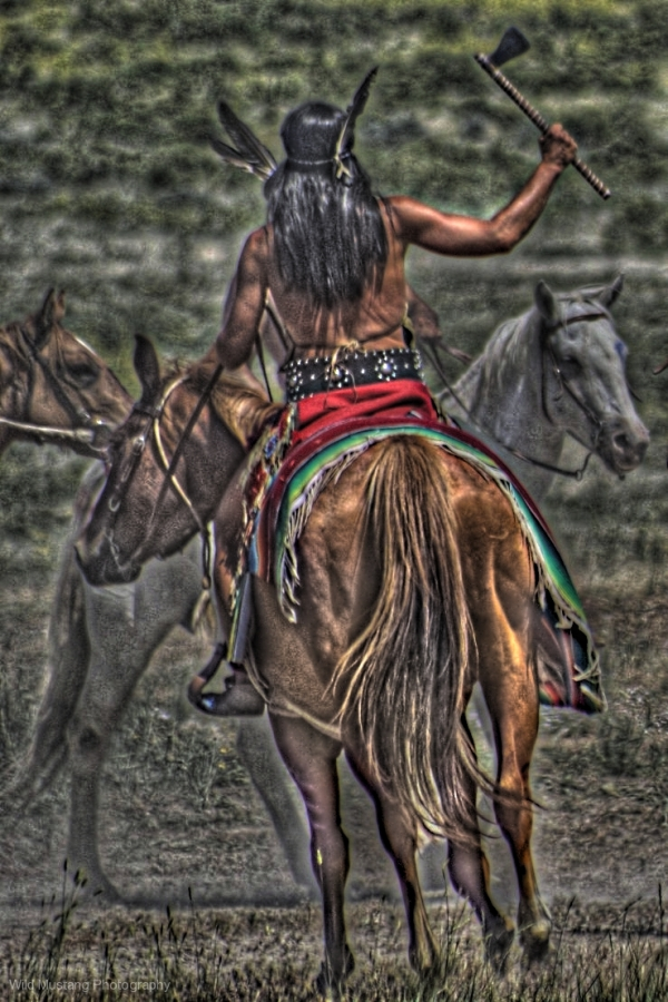 Native American Warrior   Horse  HDR