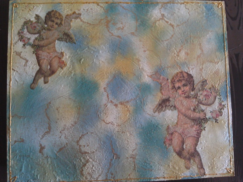 antique box with decoupage