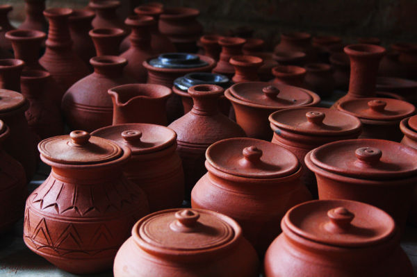 Earthern Pots at a Potters Exhibit...