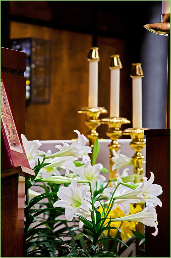 Candles and Easter Lillies