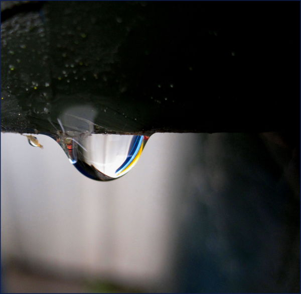bin colours reflected in water droplet