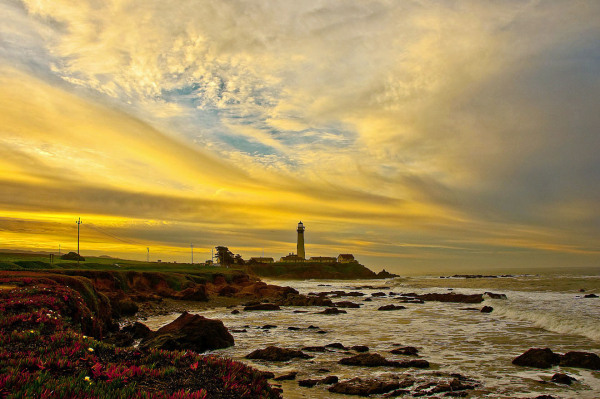 "Dawn scene "" Pigeon Point Lighthouse """
