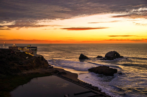 Cliffs House sunset time at Sutro Baths