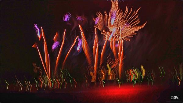Fireworks across the bay.