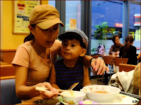 Shared a table with a cute mother and her son.