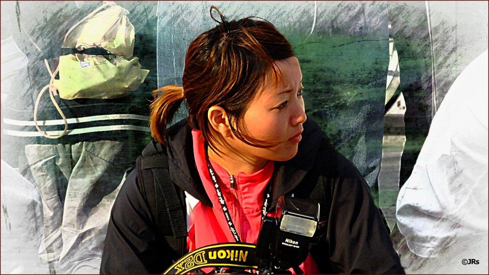 Camera lady at Naha Band contest.
