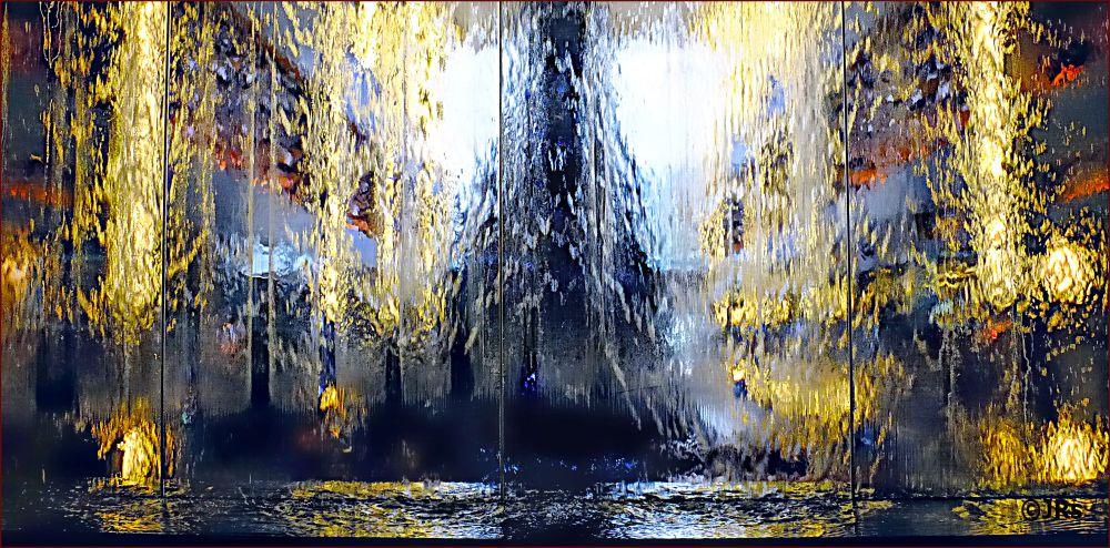 Looking through an artificial waterfalls.