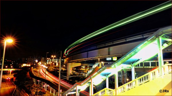 Monorail going and coming.