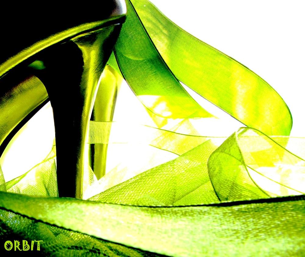 Ribbon shoe high-heel green CONFUSION