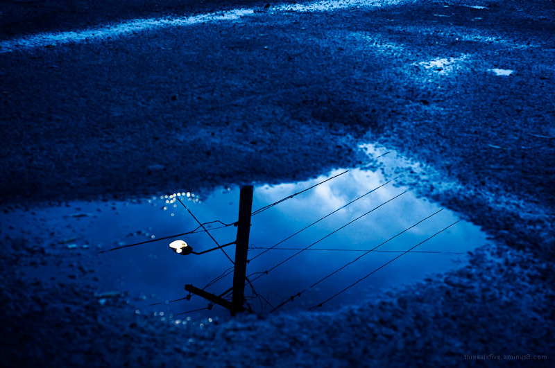 Puddle in a carpark.