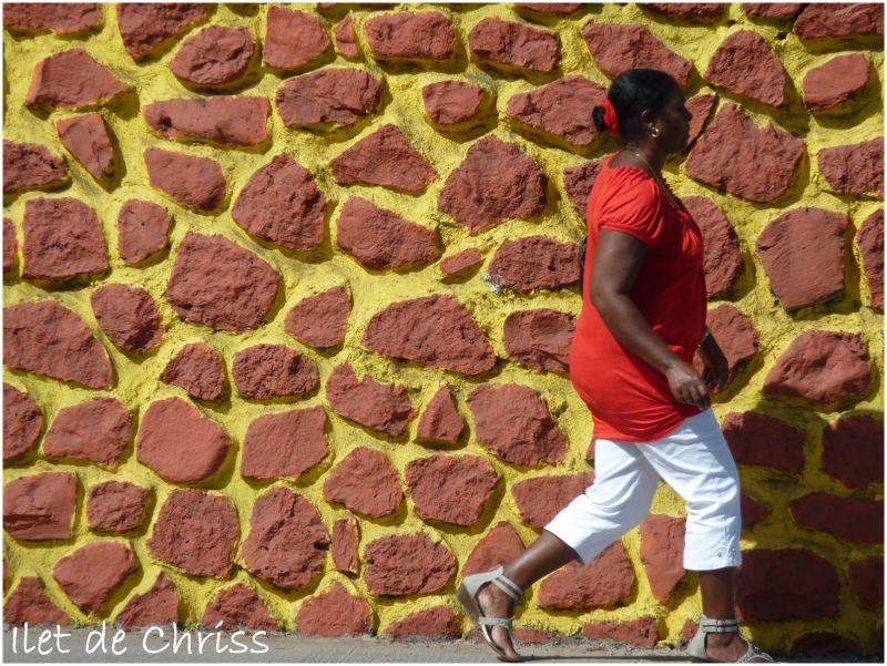 Femme en rouge passant devant un mur girafe