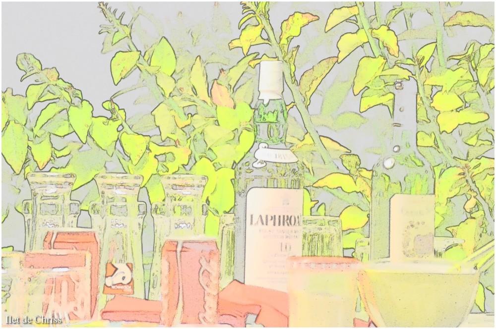 Verres et bouteilles avec effets