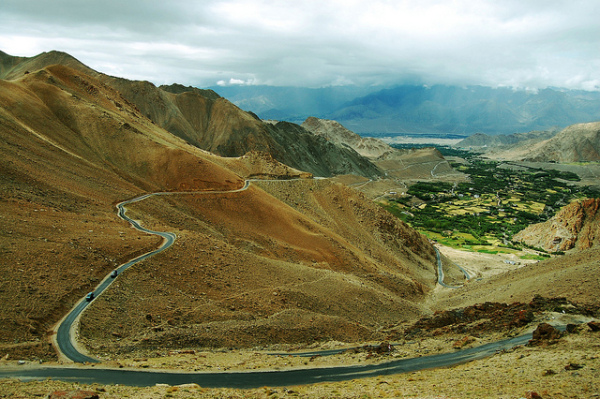 Road passing through Nubra valley in Ladakh