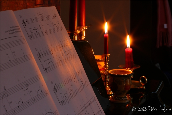 sheet music by candle light