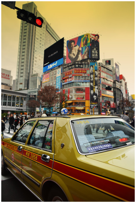 Yellow cab in Shibuya