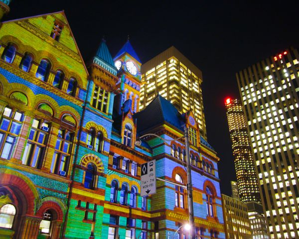 "Toronto ""Old City Hall"" Christmas nigh lights"