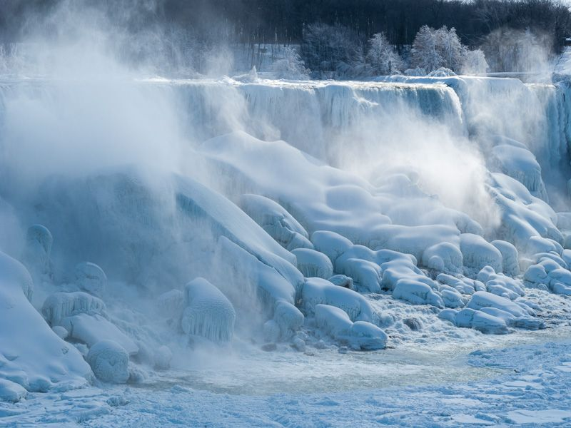 """Niagara Falls"" Winter frozen ice snow mist sun"