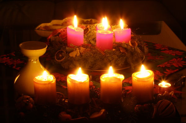 fully lit advent wreath