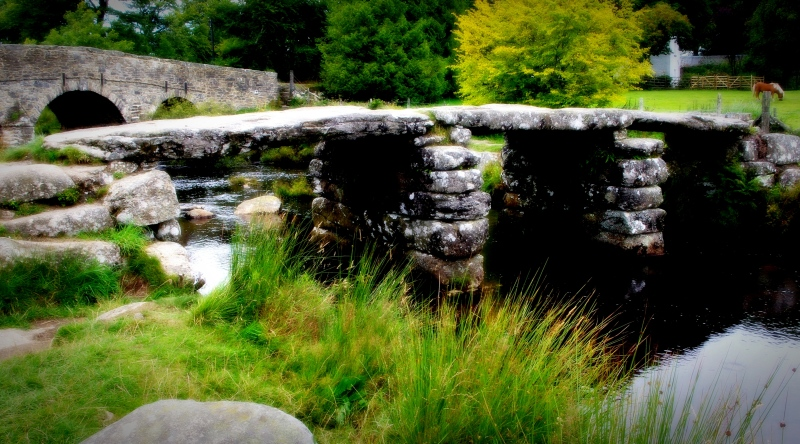 postbridge clapper bridge, dartmoor national park