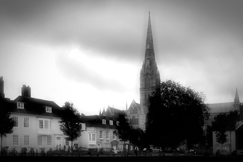 cathedral close and cathedral, salisbury, england