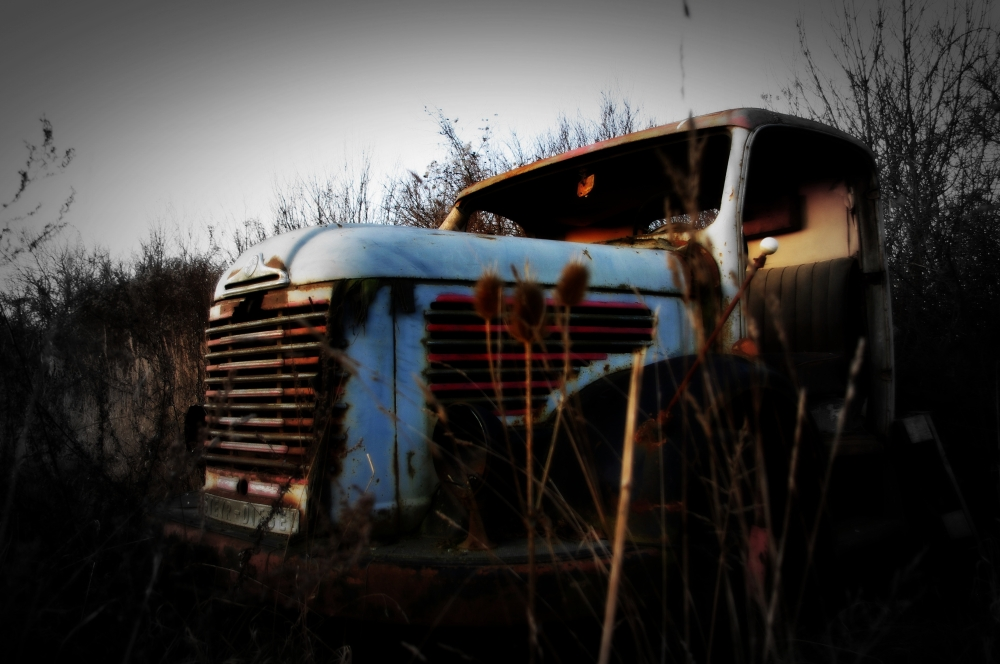 old steyr lorry abandoned in the weeds