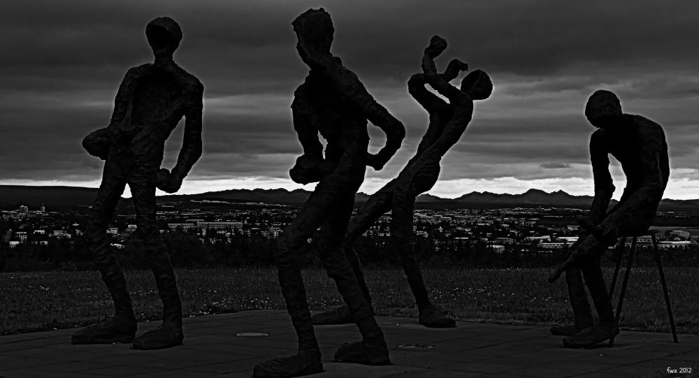 iceland, reykjavik, sculpture at perlan, bw, HDR
