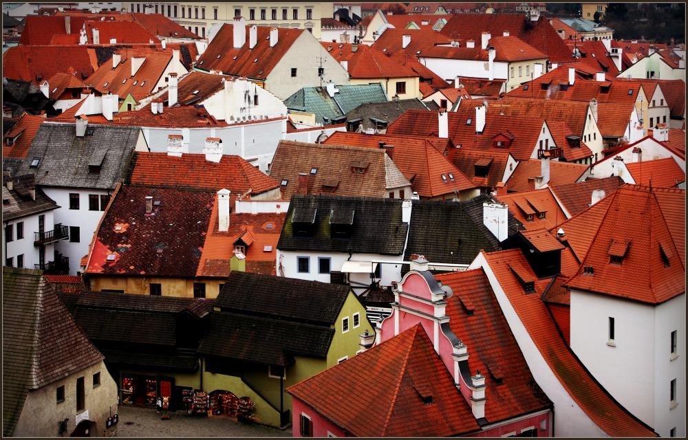 krumau, český krumlov, town, roofs