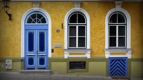 tallinn, old town, colourful house front and door