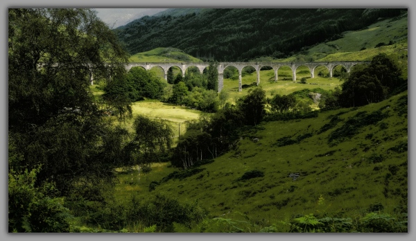 scotland, glenfinnan viaduct, orton, posterised