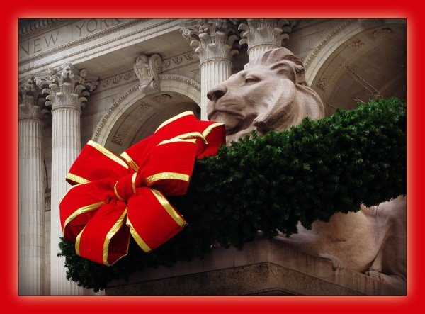 new york city, library, lion, wreath