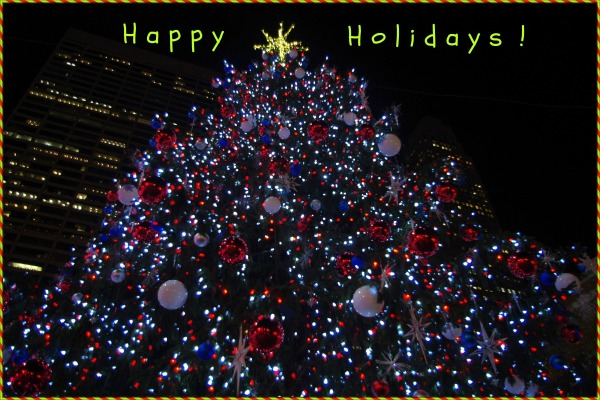 new york city, christmas tree, lights