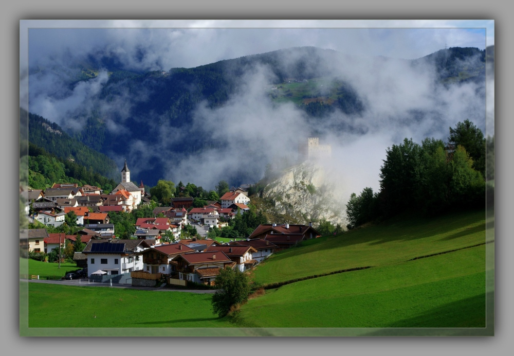 tirol, ladis, village, castle ruins, alps, clouds