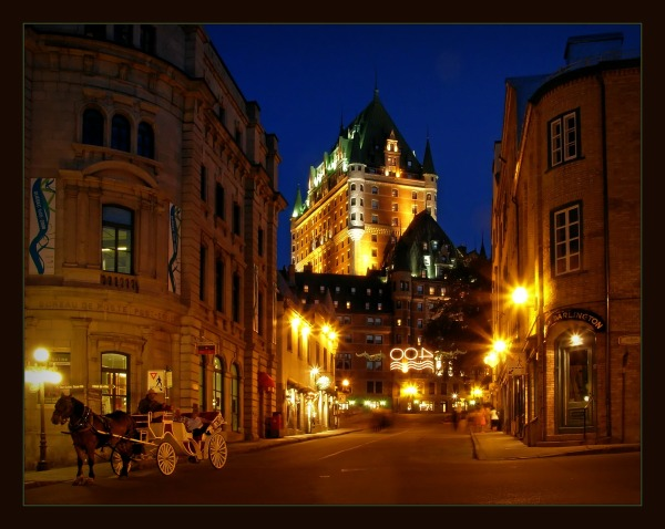 quebec city, chateau frontenac, night, lights