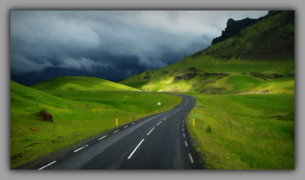 iceland 2014, road to the hills, clouds, aquarell