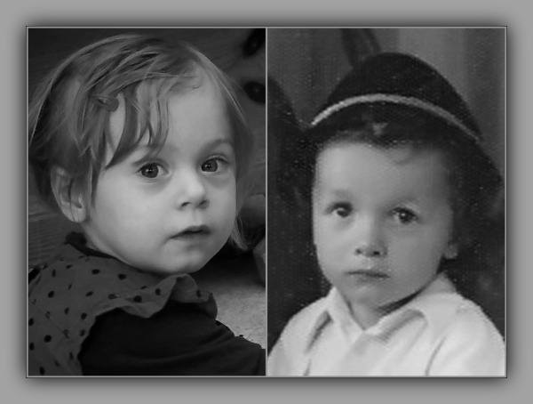 emilia, 37 months old, grandpa 2 years old