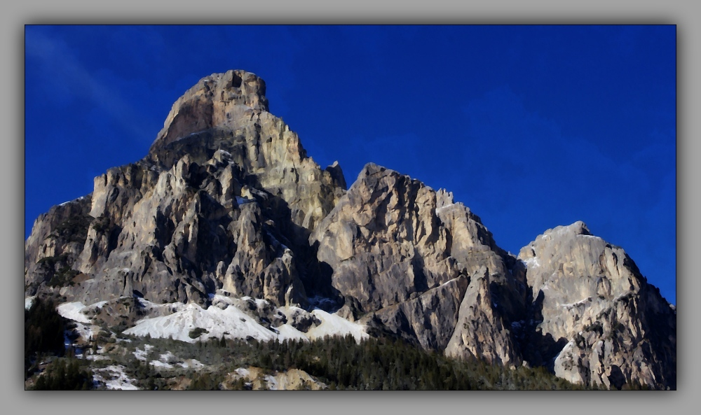 italy, corvara, winter, sassongher, aquarell