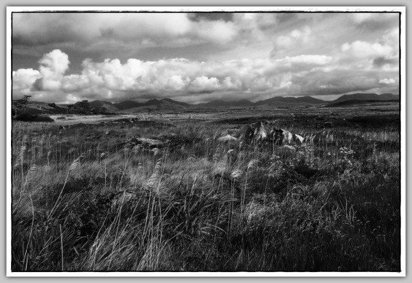 ireland, connemara, sky, clouds, bw