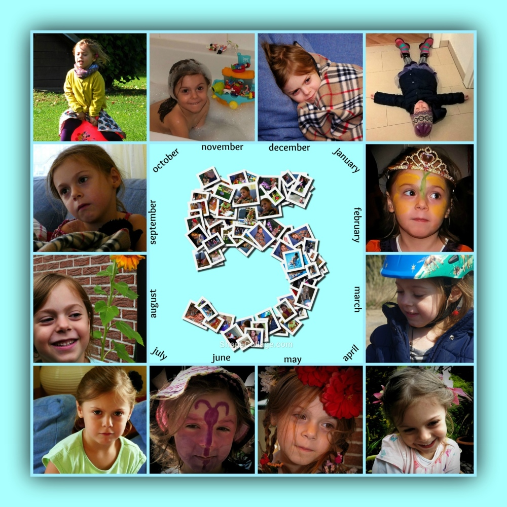 emilia, five years old, birthday collage