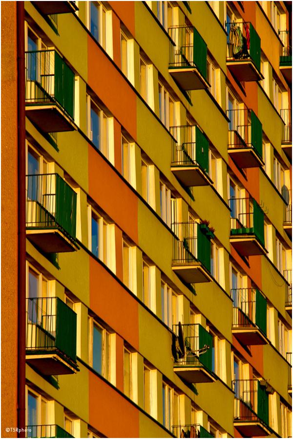 architecture block balcony city