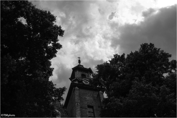 Black clouds over the church
