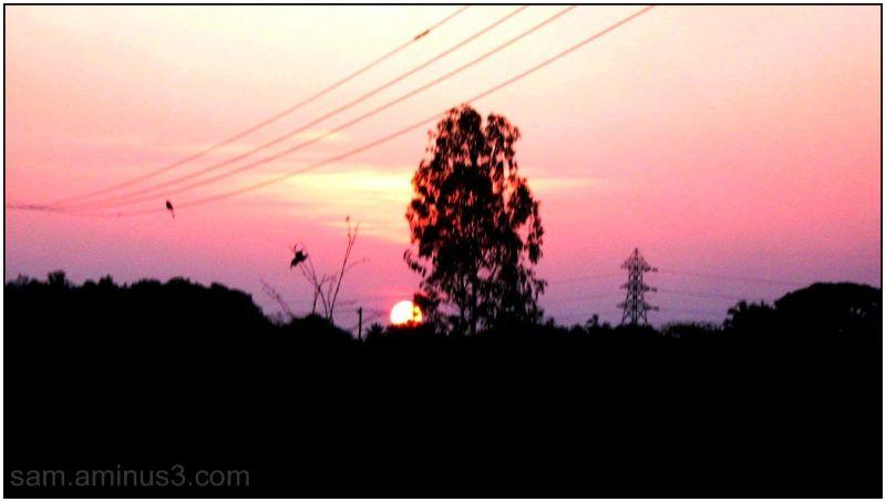 Sunset in rural Village